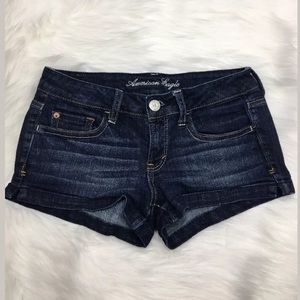 American Eagle AEO Dark Wash Mini Stretch Shorts